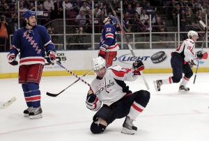 Washington Capitals Marcus Johansson in the Stanley Cup Playoffs at Madison Square Garden in New York